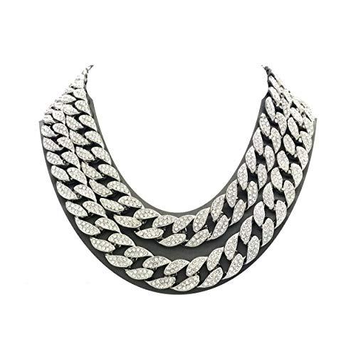 Hip Hop Diamond Necklaces - Shiny Jewelers USA Mens Iced Out Hip Hop Silver tone CZ Miami Cuban Link Chain Choker Necklace (20