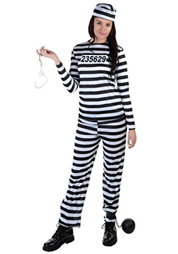 Women Prisoner Costume (Women's Striped Prisoner Costume Large)