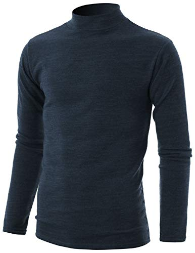 (GIVON Mens Slim Fit Long Sleeve Mock Neck Pullover Sweater/DCP324-CHARCOAL-L)