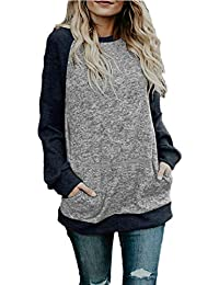 Women's Crew Neck Pullover Sweatshirts Color Block Loose Fit Tunics Tops with Pockets