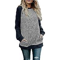 noabat Women's Crew Neck Pullover Sweatshirts Color Block Loose Fit Tunics Tops with Pockets