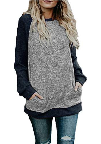 e21bc62e1ffc5 noabat Women s Crew Neck Pullover Sweatshirts Color Block Loose Fit Tunics  Tops with Pockets