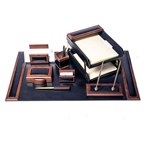- Dacasso Walnut and Black Leather Desk Set, 10-Piece