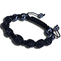 Shamballa Bracelet Adjustable Length with Black Crystal Beads