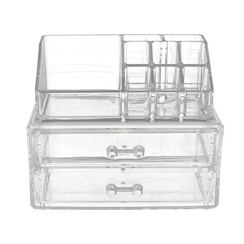 2 Piece Detachable Makeup Organizer & Cosmetic Storage, Clear Acrylic, With 2 Drawers, Countertop Space Saving Storage, Fits Lipsticks, Brushes, Jewelry, Creams, Nail Polish And More