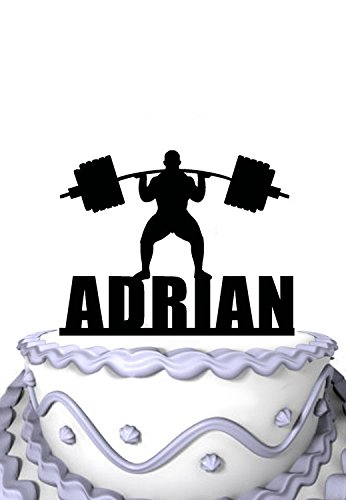 Meijiafei Personalized Cake Topper -A man is weightlifting athlete Personalized Name Cake Decoration (Weight Lifting Cake Topper)