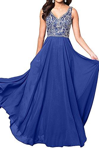 mit Abendkleider Chiffon Royal Langes Silber Blau Festlichkleider Partykleider Damen Ballkleider Steine Charmant qwZE0tv