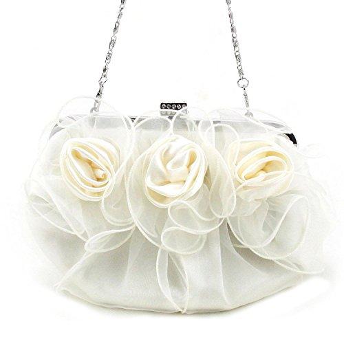 Belsen Rose Flower Wedding Bags Satin Women's Evening White RRT7wg