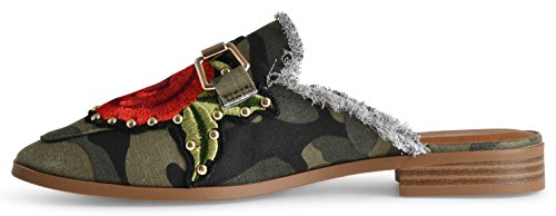 LUSTHAVE Womens Gold Plated Slide On Slip On Mule Loafer Flats Shoes Camouflage K0pOfIz3w2