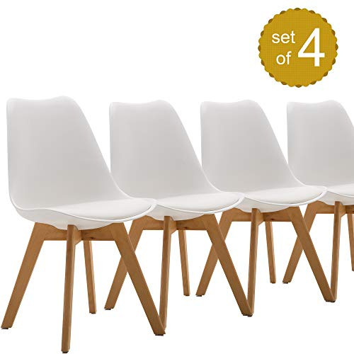Dining Chair Set of 4, Modern Style Side Chairs Mid Century Modern Kitchen Chairs, Lounge Leather Chair for Kitchen, Dining, Bedroom, Living Room (White)