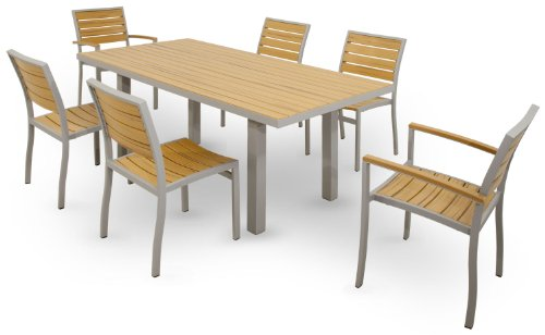 "Ivy Terrace IVS113-1-11NT Basics 7-Piece Dining Set, Textured Silver - Includes four IVA100 Basics Dining Side Chairs, two IVA200 Basics Dining Arm Chairs and an IVAT3672 Basics 36"" x 72"" Dining Table Features high quality aluminum frames and All-Weather Polystyrene recycled lumber that provides the look of natural teak without the maintenance Solid, heavy-duty construction features stainless steel hardware - patio-furniture, dining-sets-patio-funiture, patio - 41J3xgPdBFL -"
