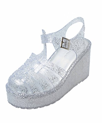 Forever Womens T-Strap Closed Round Toe Jelly Flatform Platform Sandals Adjustable Strap Casual Comfort Shoes (6.5, Clear Glitter) (Flatform Jelly Sandals compare prices)