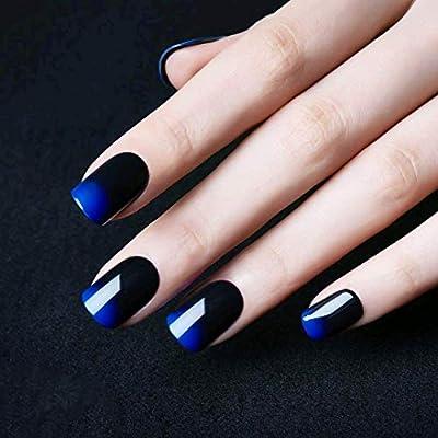 24 uñas acrílicas para decoración de uñas, bicolor degradado, azul ...
