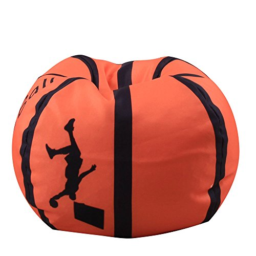 (YHOUSE Organize Kids'Stuffed Toys Bean Bag Chair, Basketball Baseball Football Style Toy Organizer for Child Bedroom, Storage Solution for Clothes, Towels and Yarn, 26 Inches)