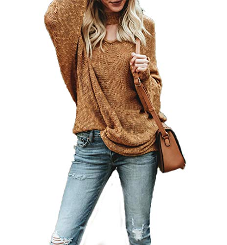 HZSONNE Womens Loose Fit Choker V Neck Batwing Long Sleeve Pullover Tie Knot Sweater Casual Knit Jumper