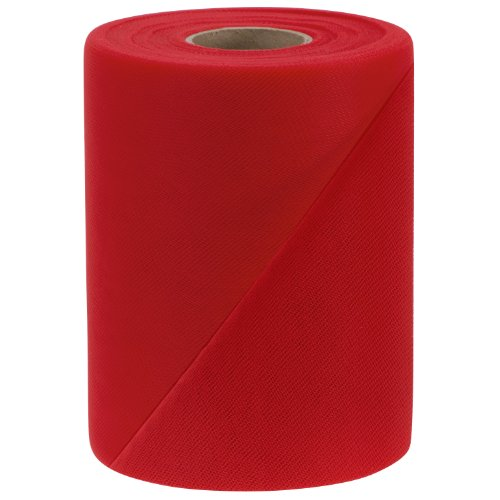 Falk Fabrics Tulle Spool, 6-Inch by 100-Yard, Red (Tulle Red Bolt)