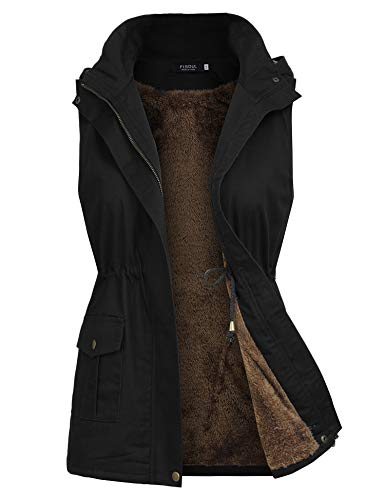 FISOUL Womens Lightweight Sleeveless Military Hooded Anorak Drawstring Jacket Vest with Fur ()