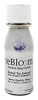 REBLOOM Natural Sleep Aid with Melatonin, Valerian & Chamomile | Herbal Sleeping Supplement Drink 1-Bottle Pack | Non-Habit Forming Pill Alternative | With Magnesium and Vitamin E & B-12