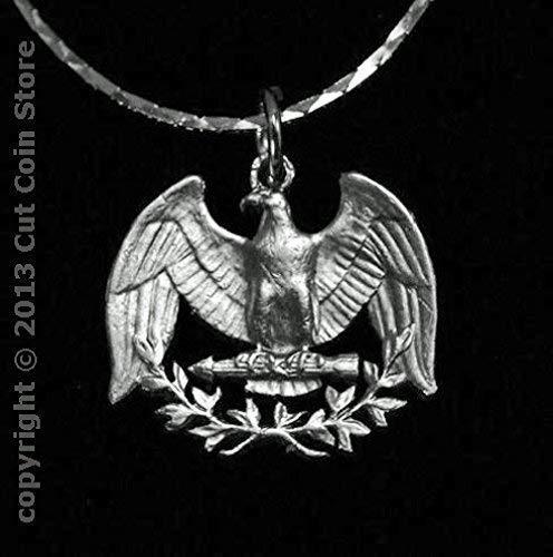 (Silver Eagle 25¢ USA Quarter Cut Coin Jewelry Pendant Necklace)