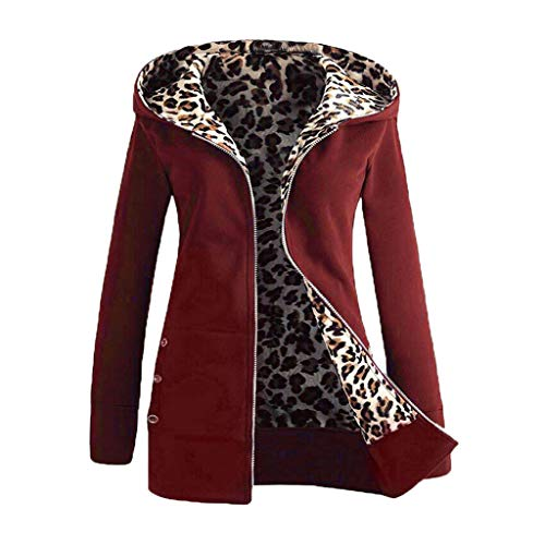 Cyber Monday Shirts for Women Leopard Cardigan Sweaters Plus Velvet Thicker Hooded Zipper Coat Overcoat Outwear ()