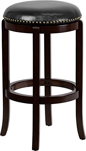 Flash Furniture 29'' Backless Cappuccino Wood Barstool with Black Leather Swivel Seat