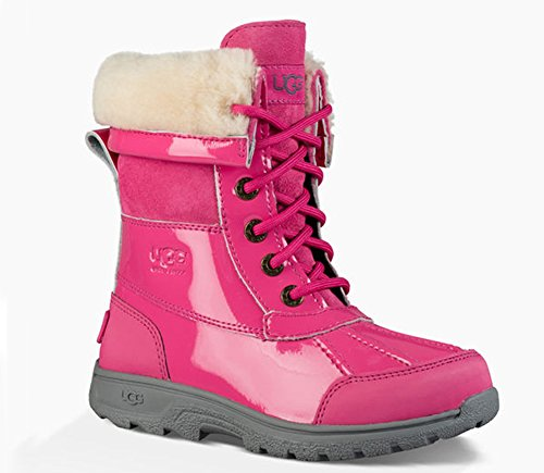 UGG Girls Butte II Patent Rain Boot Diva Pink Size 5 M US Big Kid
