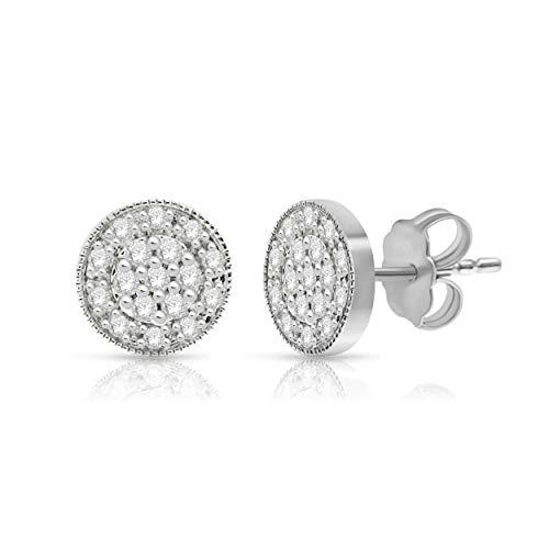 NATALIA DRAKE 14k White Gold 1/4ctw Double Halo Stud Earrings