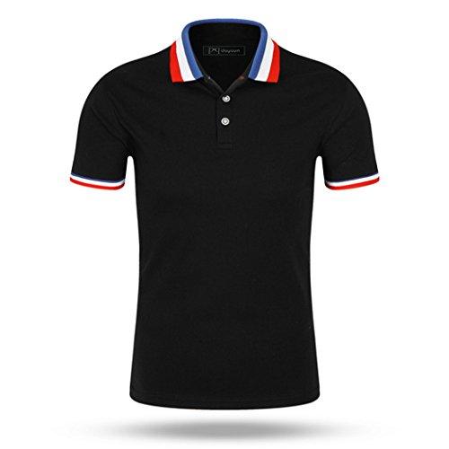 pqdaysun Men's Casual Short Sleeve Polo Shirts Solid Color Cotton T-Shirt Black US XS