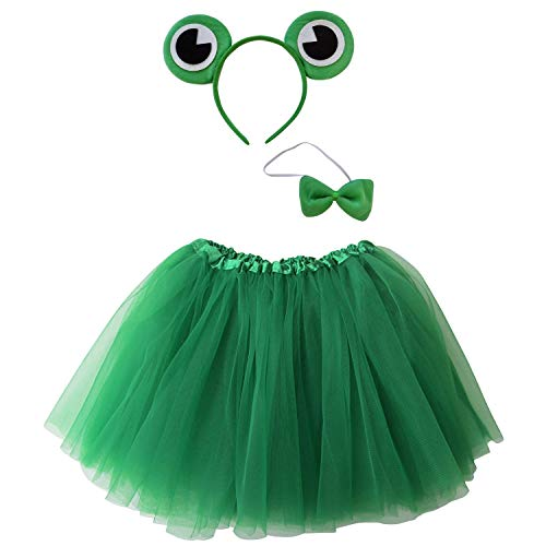 So Sydney Kids Teen Adult Plus 2-3 Pc Tutu Skirt, Ears, Tail Headband Costume Halloween Outfit (XXL (Extra Plus Size), Frog with Bow Green) -
