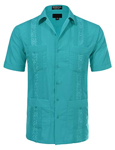 - JD Apparel Men's Short Sleeve Cuban Guayabera Shirts 13-13.5N XS Turquoise