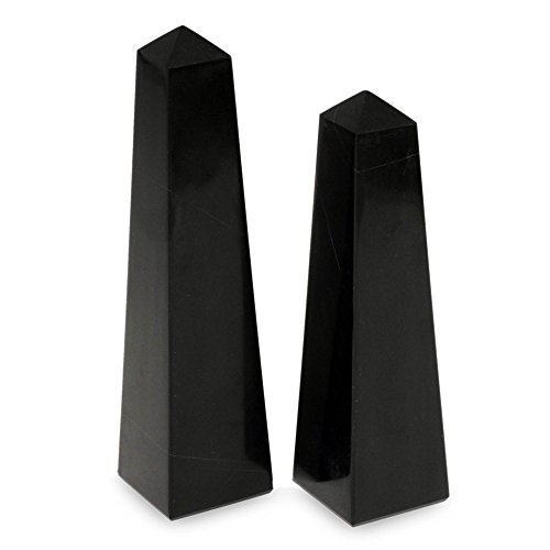 NOVICA 117453 Black Towers 2 Piece Onyx Obelisks Sculpture