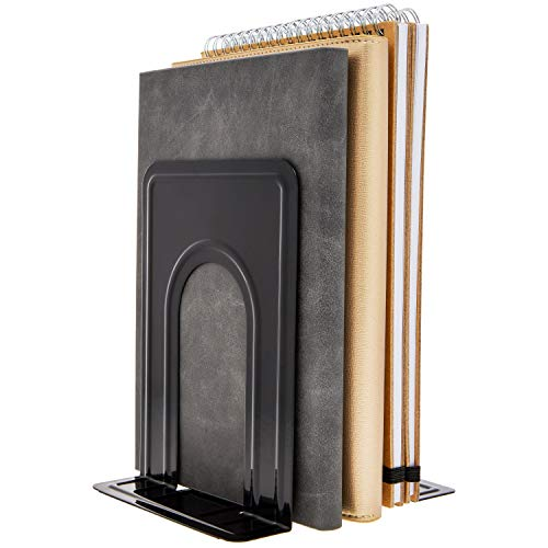 Juvale 6 Pairs - Heavy Duty Nonskid Metal Bookends, Book Stoppers for Shelves, 5 x 5 Inches