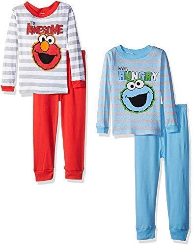 (Sesame Street Boys' Toddler Two Cool Buddies 4-Piece Cotton Pajama Set, Blue/Gray 3T )