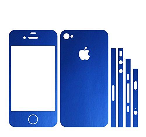 IPHONE 4S BLAU METALLIC MATT FOLIE SKIN ZUM AUFKLEBEN bumper case cover schutzhülle i phone