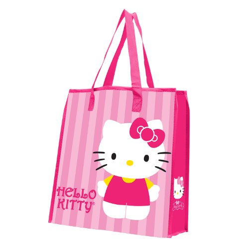 (Vandor 18273 Hello Kitty Stripes Large Recycled Shopper Tote, Pink, White, Yellow, and Black)