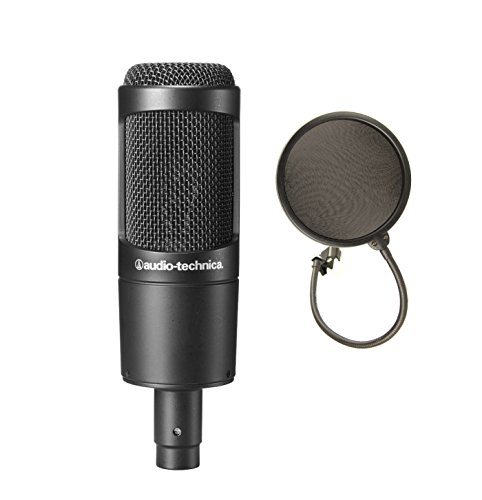 Audio-Technica AT2035 Large Diaphragm Studio Condenser Microphone bundled with Pop Filter (Large Diaphragm Cardioid Condenser Microphone)