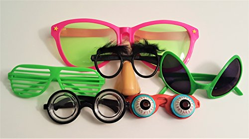 Deluxe Funny Disguise Assorted Glasses- Set of 6 -