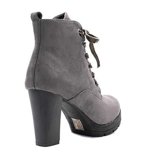 Élégante Bottines Hiver Confortable Talon Mode Chaussures Gris Short mode Style Automne Shoes Et Femmes Lacet boots Fashion Daim wO0pSq6