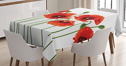 Tablecloth Ambesonne Poppies Pastoral Rectangular