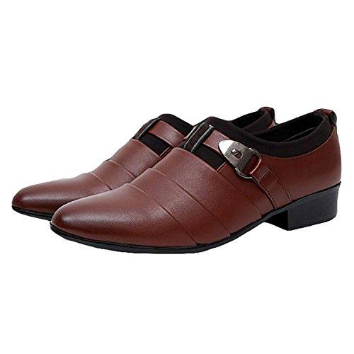 Mocasines Vestir Estilo Slip Comodidad Casual Marrón de Negocios Zapatos Boda Británico Planos Oxfords Hombres de On Minetom de n61WFHR1