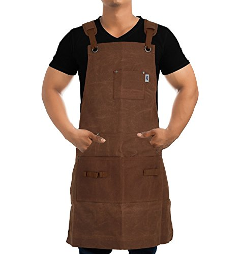 Heavy-Duty Waxed-Canvas Work Apron for Men and Women withPockets for ToolsCross-Back Straps – Adjustable from M to XXL (Brown) by Premium Rhino (Image #7)