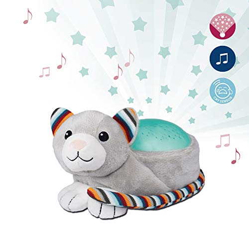 Soothing Starry Nightlight Music Projector - Soft Plush Animal with Starlight Projections, Cry Sensor, Voice Activated Music, Color Changing, Auto-Off, Battery Operated - Kiki The Kitten by ZazuKids