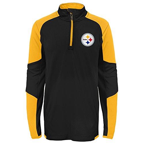 Outerstuff NFL Pittsburgh Steelers Youth Boys Beta 1/4 Zip Performance Top, Black, Kids Medium(5-6)