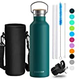 Creyer Stainless Steel Water Bottle, 750ml/26oz Vacuum Insulated Double Walled Stainless Steel Drinking Bottle, BPA Free Perfect for Outdoor, Office, Sports, with 2 Interchangeable Caps -Emerald green