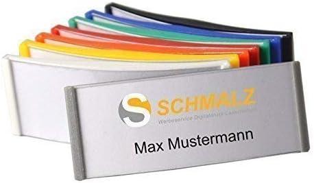 Verde MOD Colori Plastica ABS Chiodo//Calamita Schmalz Werbeservice Plastica Targa Nome 75x30mm DIV