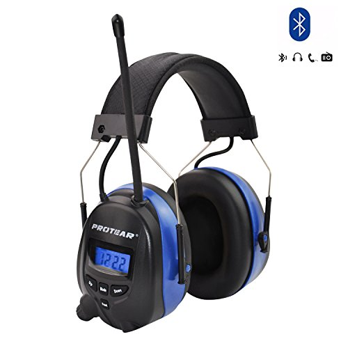 PROTEAR Wireless Bluetooth Hearing Protection,AM/FM Noise Reduction NRR 25dB Headphones Rechargeable Lithium Battery,Ear Protector for Mowing Lawn ()
