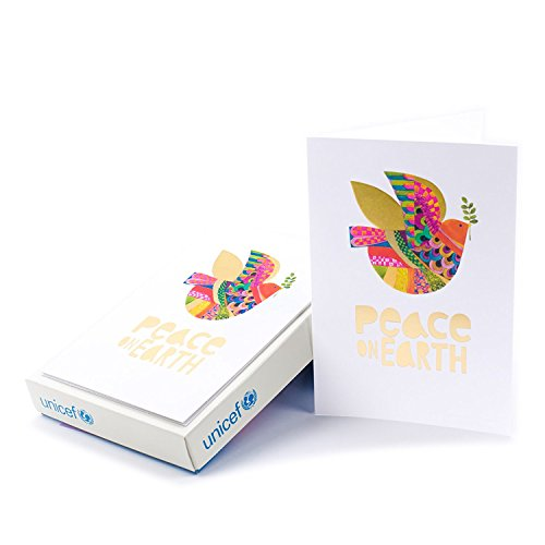 Hallmark UNICEF Christmas Boxed Cards (Peace On Earth Dove Lettering, 12 Christmas Greeting Cards and 13 - Boxed Peace Cards Christmas