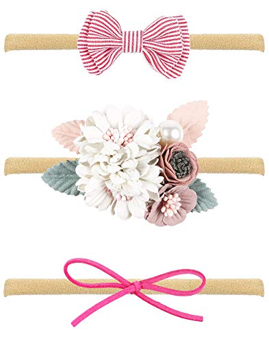 Baby Girl Headbands with Bows, Assorted 3 Packs of Hair Accessories for Newborn Toddler Girls ()