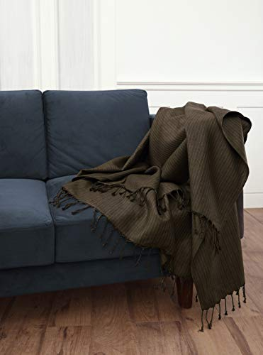 (Solino Home 100% Pure Linen Throw - 54 x 70 Inch Herringbone Brown - Natural Fabric Throw Blanket)