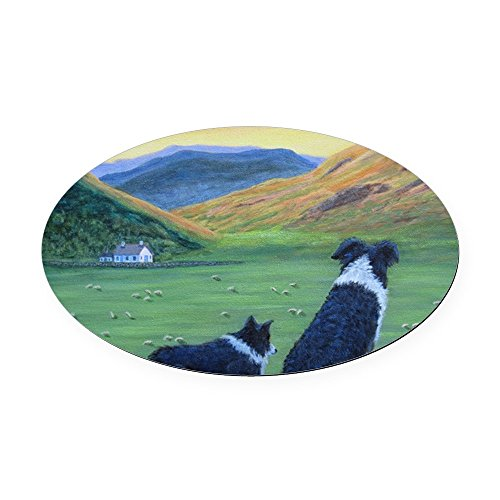 Border Collies Highland (CafePress - Oval Car Magnet - Oval Car Magnet, Euro Oval Magnetic Bumper Sticker)